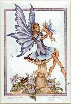 """Amy Brown Print Adoration Mother Baby Shower Fairy Child NEW 8.5x11"""" Room Decor"""