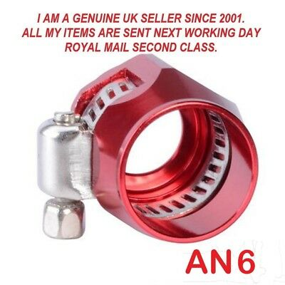 AN -6  6-15mm OD Braided Fuel Hose Line End Cover Clamp Finisher Fitting RED.
