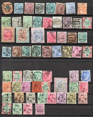 LOT BRITISH INDIA 1855-1920 -  60 Stamps BRITISH COLONY POSTAL REVENUE