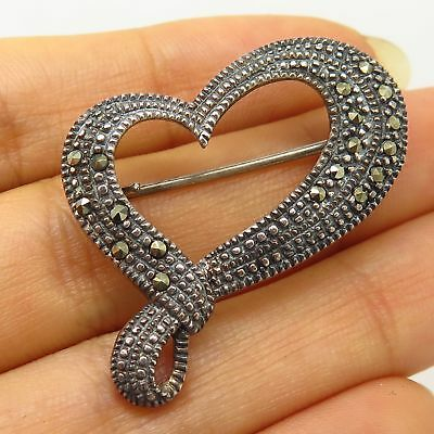 Vintage Marsala 925 Sterling Silver Real Marcasite Gem Heart Design Pin Brooch Diamonds & Gemstones