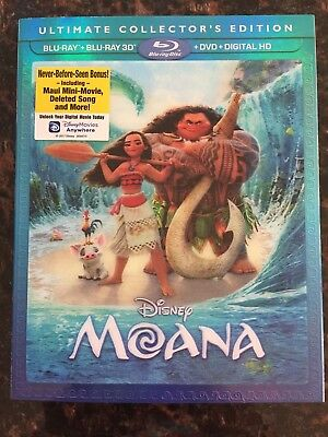 Disney MOANA 2017 Blu-Ray+Blu-Ray 3D+DVD+Digital HD New Sealed Lenticular Sleeve