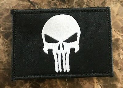 """BuckUp Tactical Morale Patch Hook Punisher Black3x2"""" Patch #27"""