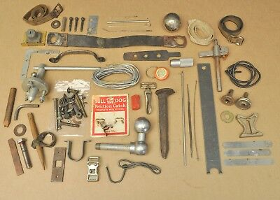 Antique Vtg Junk Drawer Mixed Lot Collectible Tools Railroad Spike Hardware Etc