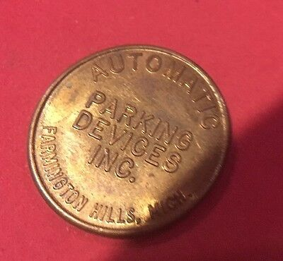 1 Good For Automatic Parking Token COIN Vintage Brass Farmington Hills Michigan