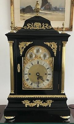 Antique Bracket Clock, English Triple Fusee, 8 Bell