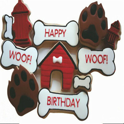 4x 3D Dog Cookie Cutter Fondant Chocolate Cake Embosser Soap Mold Baking Supply