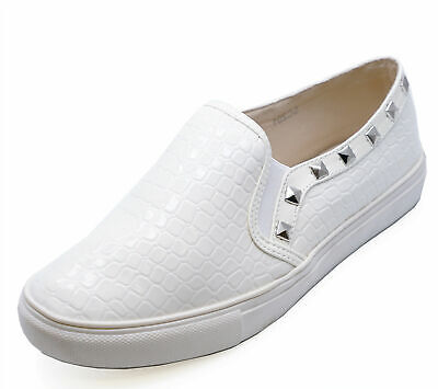 Ladies Flat White Stud Slip-On Flat Casual Plimsoll Pumps Trainers Shoes 3-8
