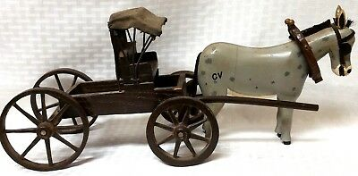 1940-50's LARGE WOODEN HAND CARVED COVERED CARRIAGE AND MULE INITIALS C V