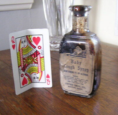 Antique Narcotic Medicine Bottle & Label Opiate Baby Cough Syrup 1900