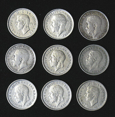 Lot of 9 Great Britain Three 3 Pence silver coins 1917-1941 high grades