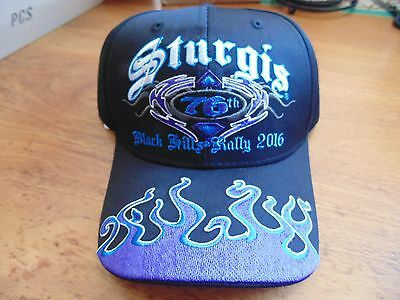 black blue flame Sturgis bike rally 2016 black hills baseball hat motorcycle 76