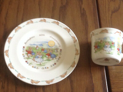 Bunnykins plate and mug set 60th anniversary dancing in the moonlight