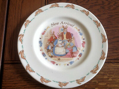 "Bunnykins plate the new arrival 8"" christening"