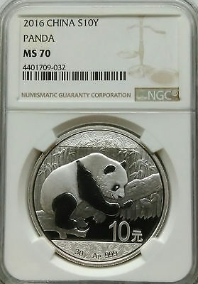 NGC MS70 2016 China PANDA 10¥ Yuan Coin SILVER 30g 999 Ag PRC Top Grade Registry