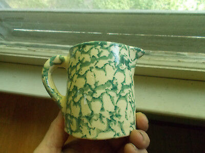 """Antique Green Spongeware Cream Pitcher Over 100 Yrs Old 3 3/4""""tall"""