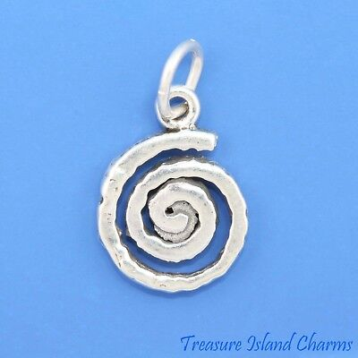 Swirl Spiral Native American Indian Petroglyph .925 Solid Sterling Silver Charm