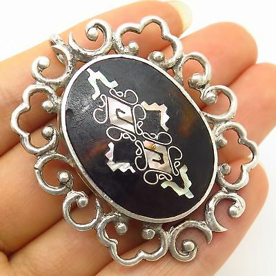 Vtg Mexico Signed PGG 925 Sterling Silver Abalone Inlay Ornate Design Pin Brooch
