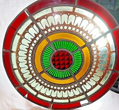 """Stained Glass Panel. 15"""" Round Old Victorian Antique Transom Salvage Multi Color"""