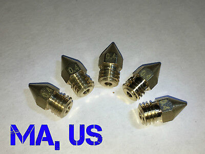 5 Pieces 0.4mm/1.75mm Filamet 3D Printer Extruder Nozzles Fits MK8 Anet A6 & A8