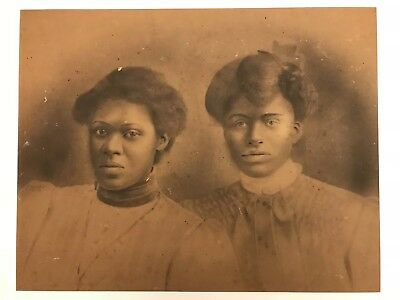 RARE 1800's 1900's ANTIQUE CHARCOAL PORTRAITS AFRICAN AMERICAN CABINET CARD