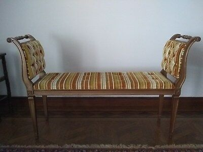 Vintage Bench Upholstered, Very Good Condition, Sturdy All Wood