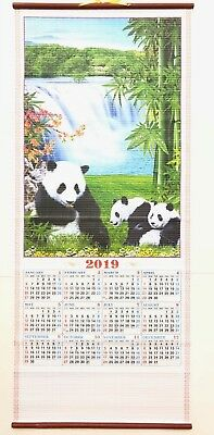 2019 Chinese Calendar Wall Scroll with Panda For The Year of The Pig Boar #H-115