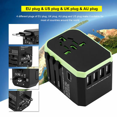2000W 4 USB+Type C Charger Power Adapter Electric Converter World Travel Plug