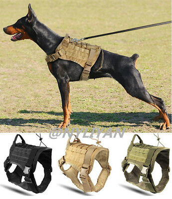 K9 Tactical Training Dog Harness Military Adjustable Molle Handle Nylon Vest M/L