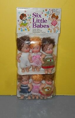 """New Vintage 1983 Beatoy Inc Six Little Babes 4"""" Plastic Dolls Made in Hong Kong"""