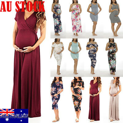 Maternity Pregnant Women Short Sleeve Maxi Dress Nursing Floral Casual Dress AU