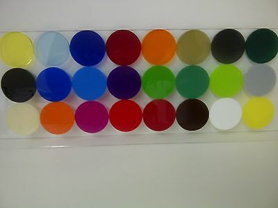 20mm to 100mm diameter 3mm coloured cast Perspex Acrylic circles packs of discs