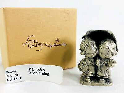 Vtg Little Gallery by Hallmark 1977 Friendship Is For Sharing Pewter Figure C8