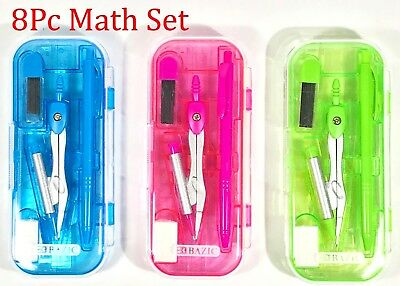 8 pc Math Tool Set Geometry School Compass Ruler Triangle Protractor Eraser C056