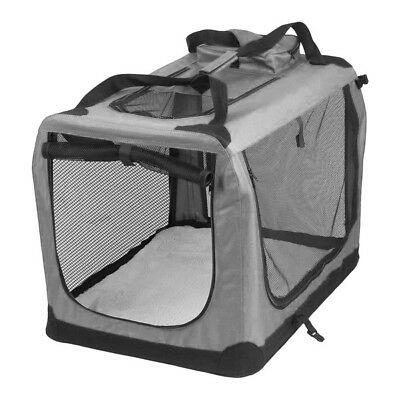 AVC Fabric Pet Carrier Grey Folding Dog Cat Transport Bag Medium Inc Warranty