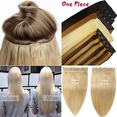3/4Half Head 5Clips On One Piece Clip In 100%Remy Human Hair Extension 16''~26''
