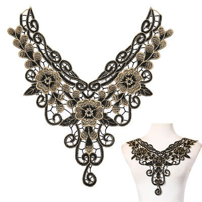 1X embroidered floral lace neckline neck collar trim clothes sewing appliques UK