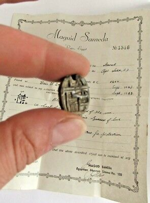 Genuine ancient Egyptian scarab- Museum licence certificate 20th dynasty BC 1400