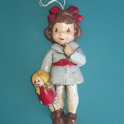 "Vintage Wooden Christmas Ornaments 5"" Girl with Doll Hand Made Estate Find"
