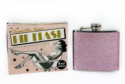 6oz Pink Glitter Sparkle Hip Flask Stainless Steel Hen Party Ladies Girls Gift
