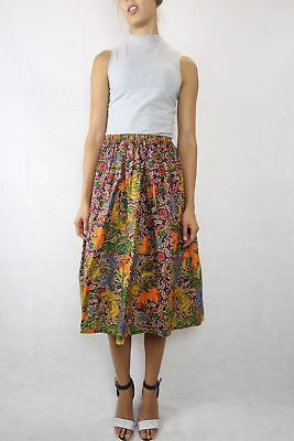 VINTAGE Colourful Balinese Print 80s Skirt Size XS