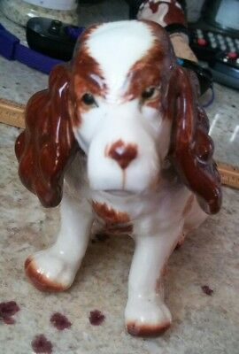Vintage English Springer Spaniel Figurine Porcelain Japan Dog Figure