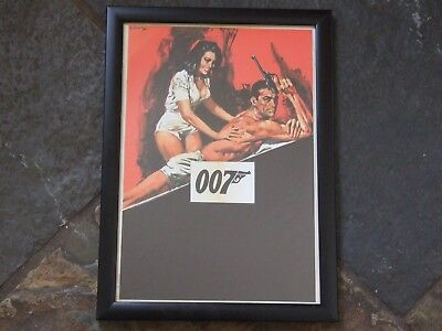 James Bond 007 Sean Connery Movie Poster Print in Black A4 Frame