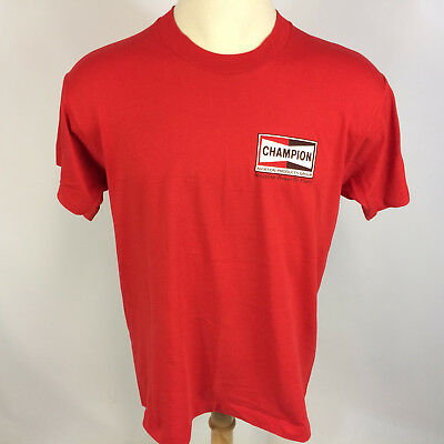 6f89a492f Vintage 80s Champion Spark Plugs Aviation Airplane Pilot Racing Logo T Shirt