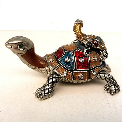 * BOITE TORTUE ET SON BEBE EMAIL ET STRASS 8.5 cm TURTLE