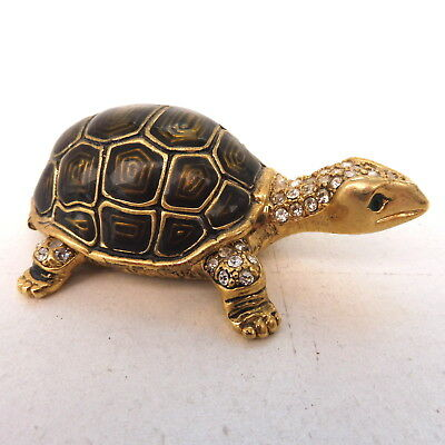 * BOITE TORTUE MARRON EMAIL ET STRASS 8 cm TURTLE