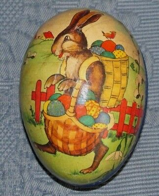 Early German Paper Mache Egg Candy Holder & Lithograph of a Rabbit & Egg Baskets
