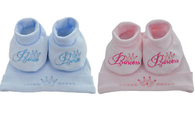 Newborn Cute Baby Princess Prince Hat Booties Boys Girls Bootee Gift Set New