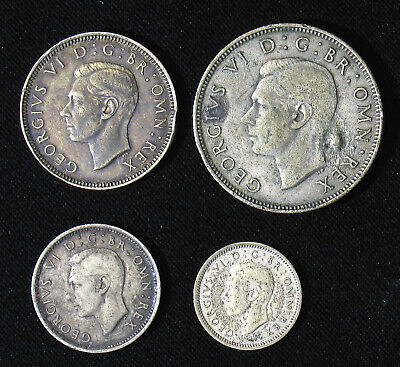 Lot of 4 Great Britain silver coins 3, 6 Pence, 1, 2 Shilling 1940, 1941, 1944