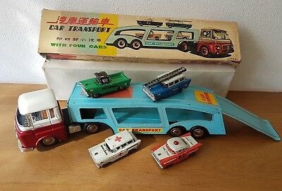 Red China Tin Toy Car Transport Friction MF 868 + Cars and Box - Rare & Vintage