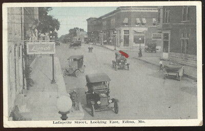 1926 Sepia Photo Pc, Lafayette Streer Looking East, Edina, Mo. Old Cars, Stores